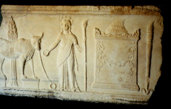 Relief from Temple of Demeter, Pergamum (photo JWWatts, 2001)